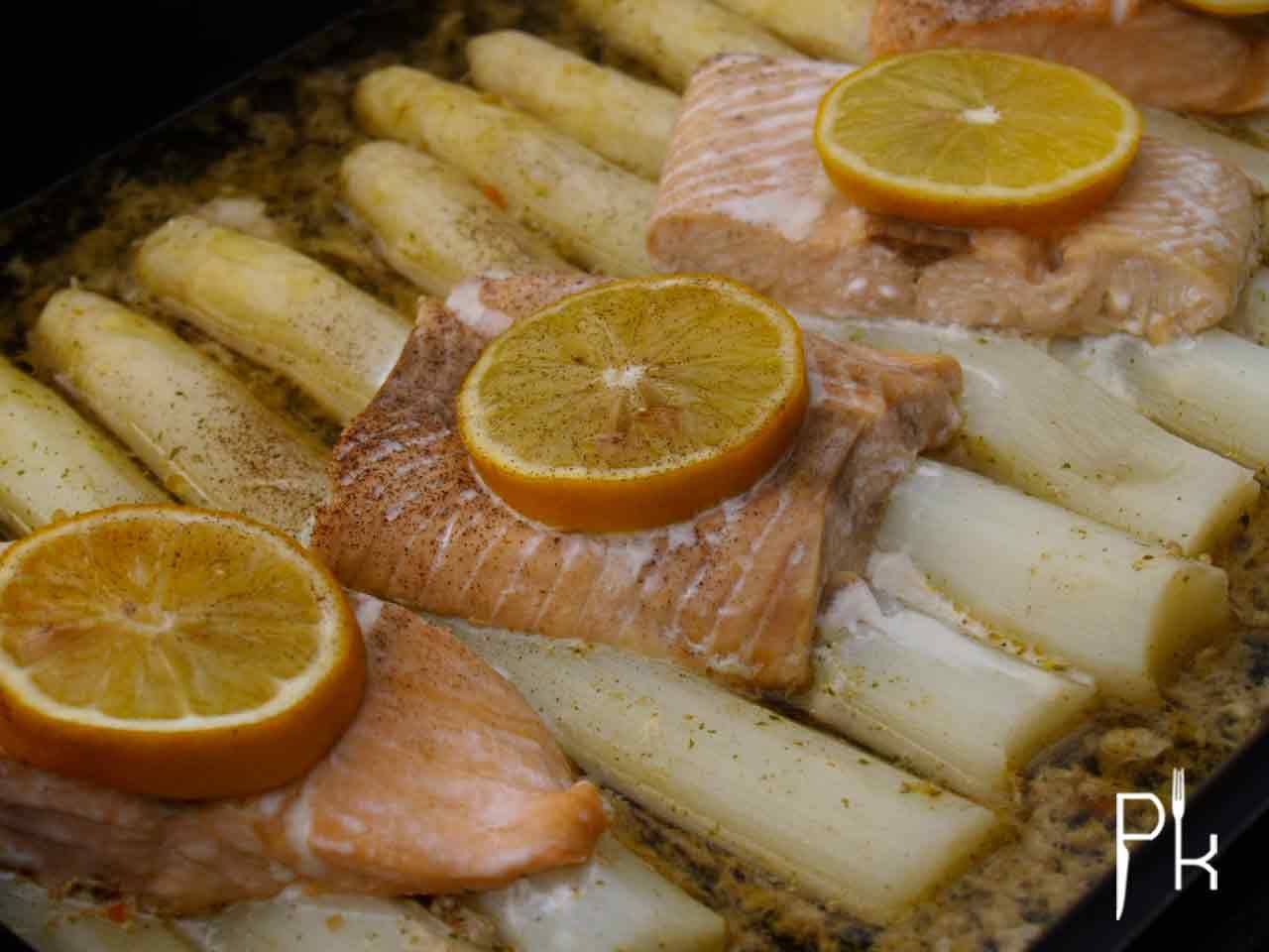 asperges met zalm uit de oven