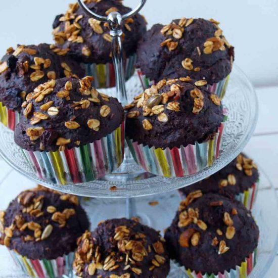 chocolade bananenbrood muffin
