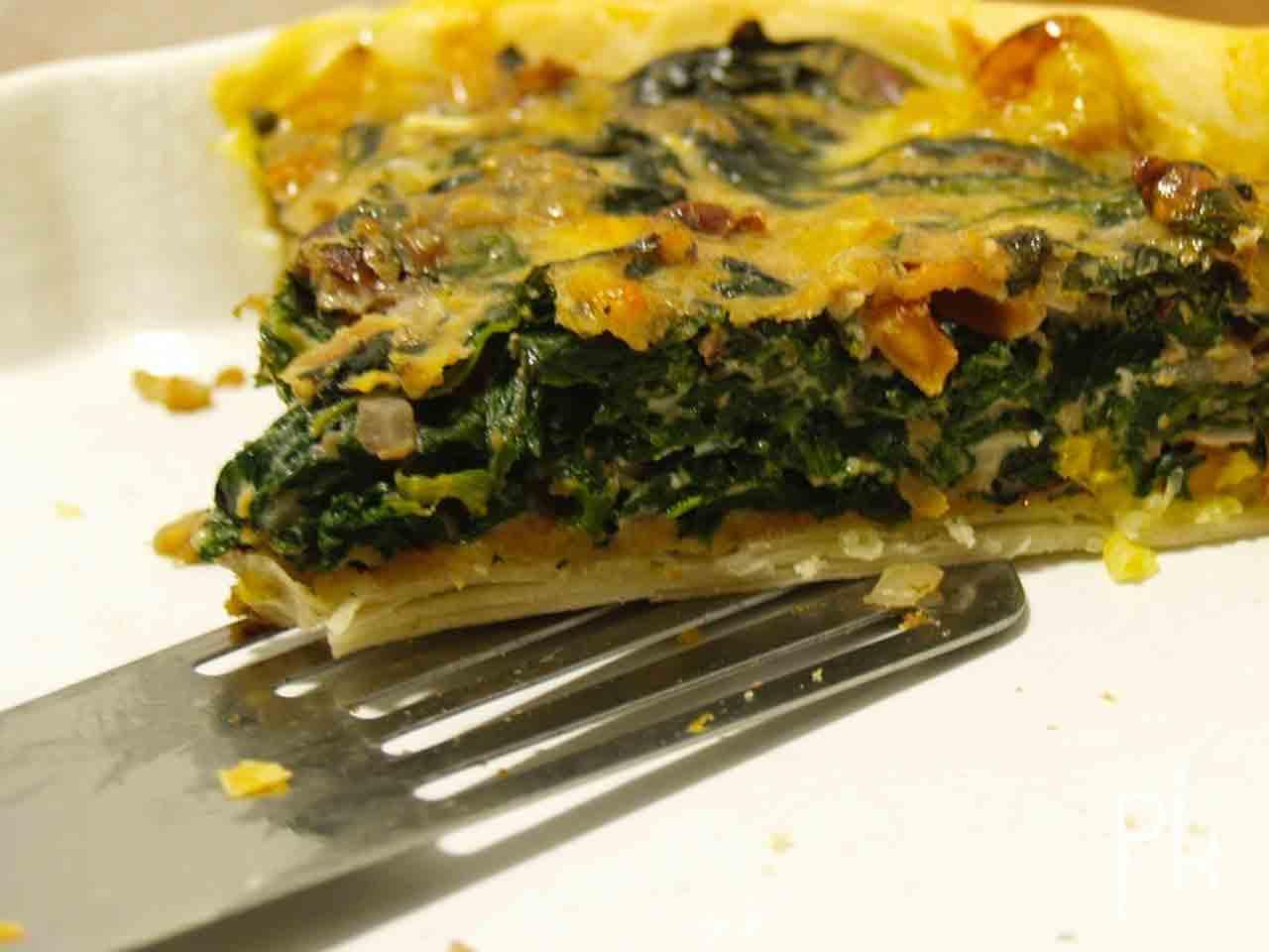 krokante quiche met spinazie