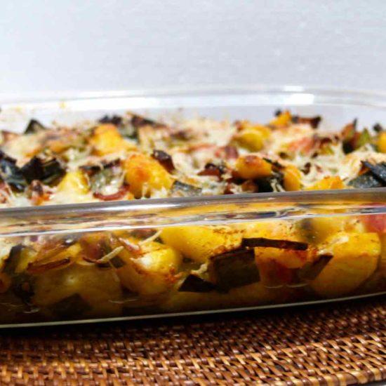 gnocchi met prei en spekjes
