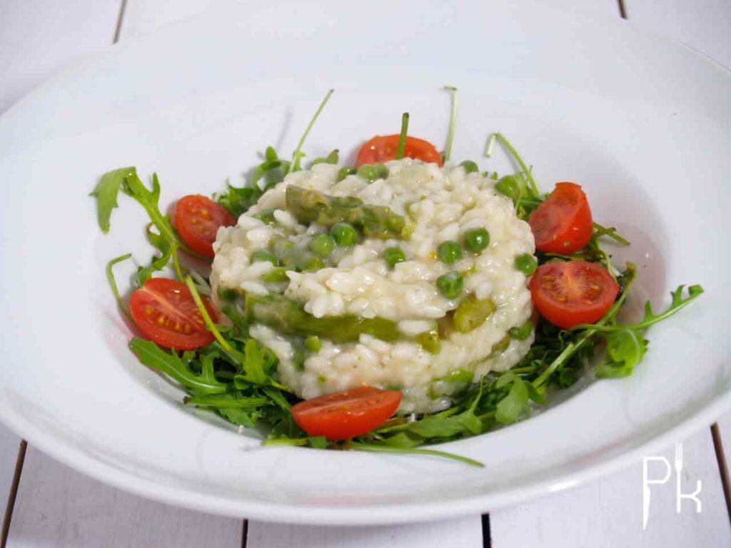 risotto met asperges en doperwten