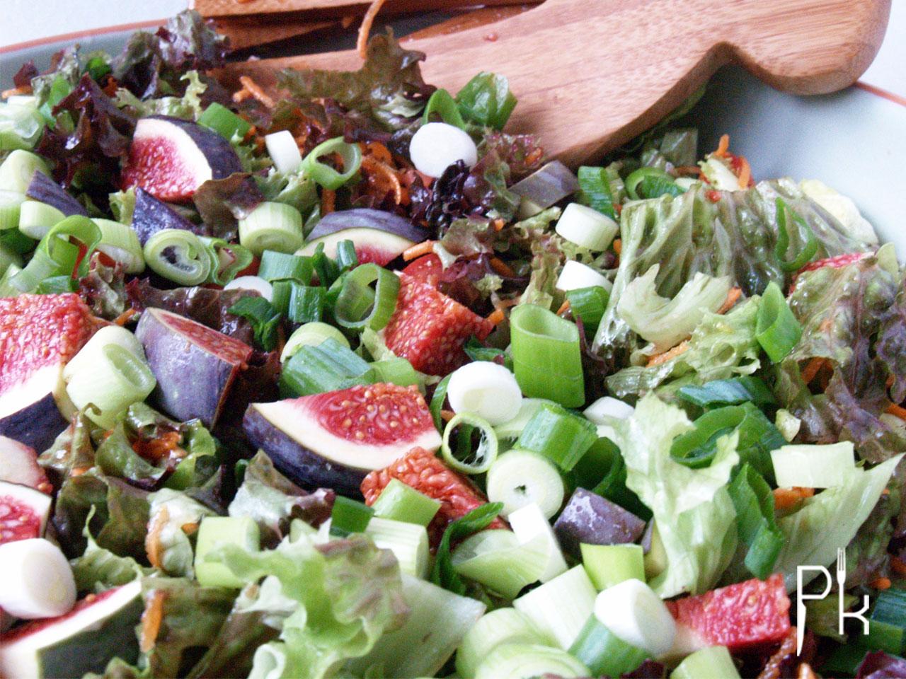 groene salade met vijgen