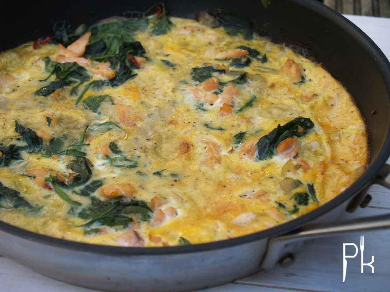 frittata spinazie en zalm