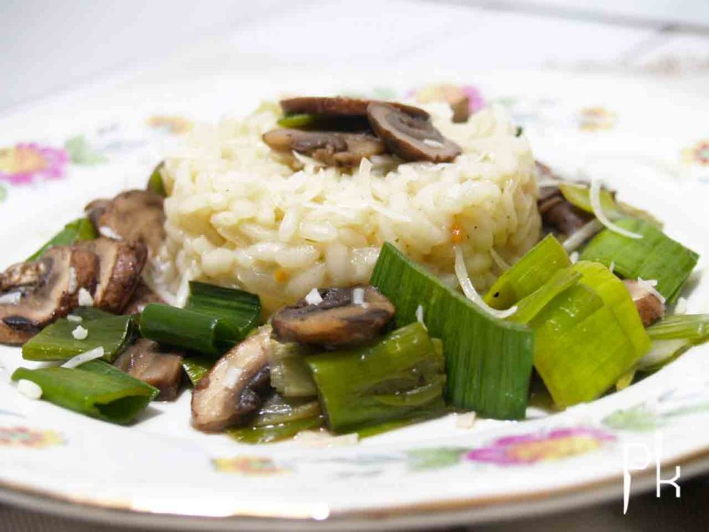 risotto met prei en champignons