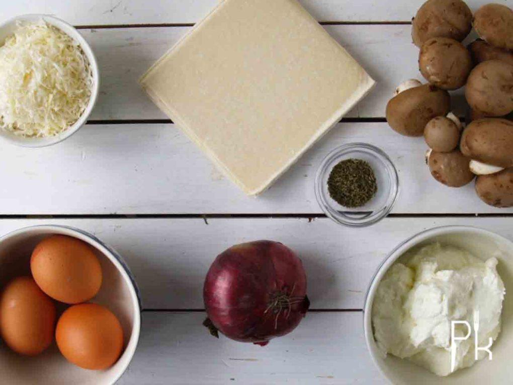 hartige taart met ui en champignons
