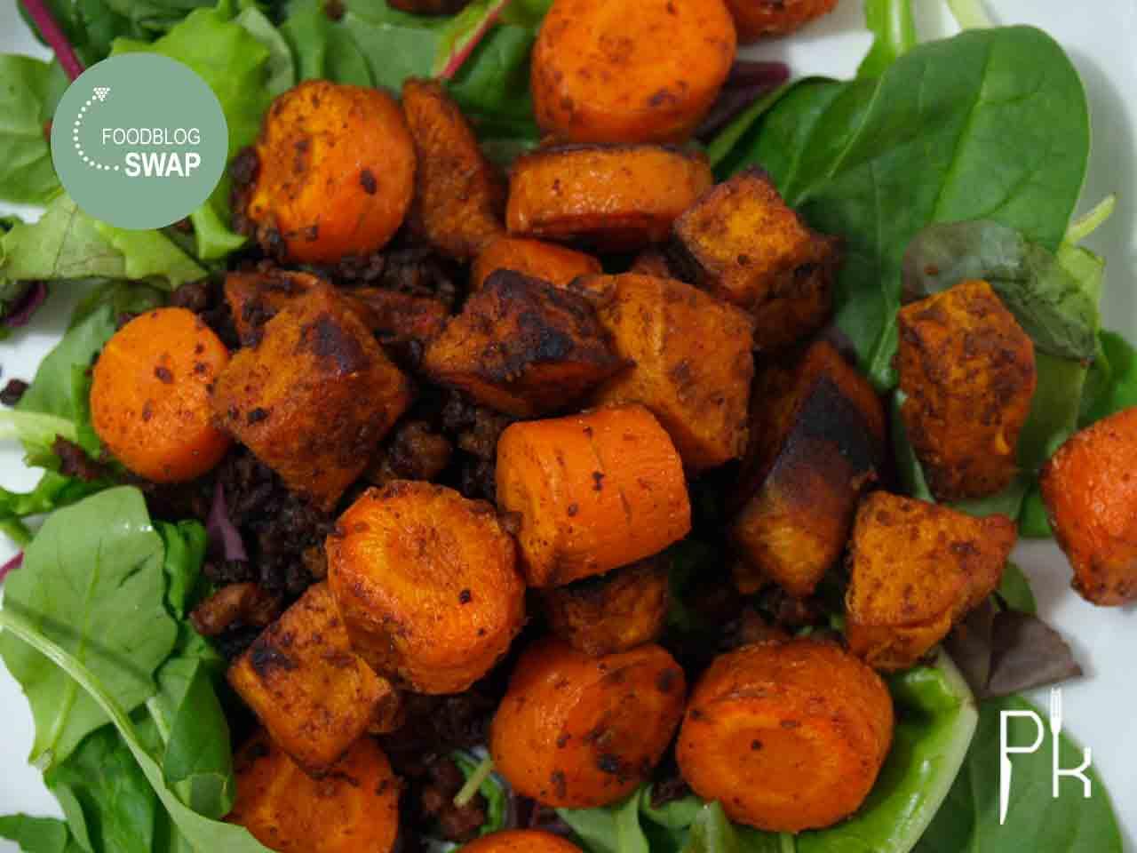gehakt schotel met wortel en zoete aardappel