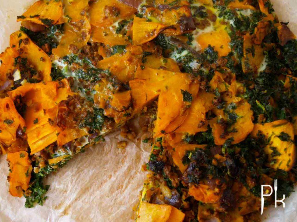 pittige zoete aardappel tortilla met boerenkool