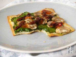 spinazie plaattaart met champignons